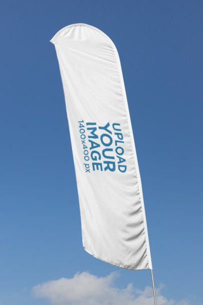 Flag Banner Mockup on a Blue Sky Background 28031