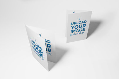 Mockup of Two Bi-Fold Brochures Standing in a Plain Background 39-el