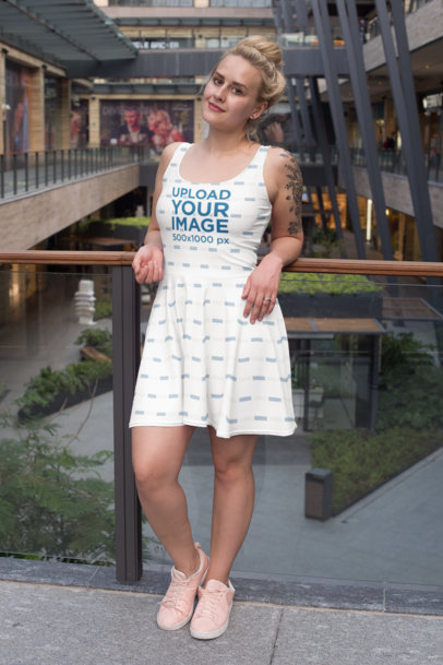 Dress Mockup Featuring a Tattooed Woman at a Mall 27999
