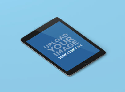 Minimal iPad Mockup Featuring a Solid Color Background 149-el