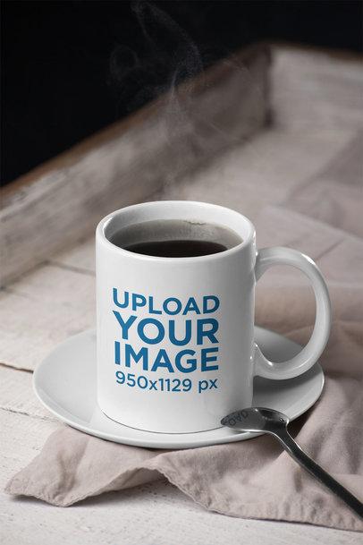 Mockup of a Coffee Mug on a Porcelain Plate 28187