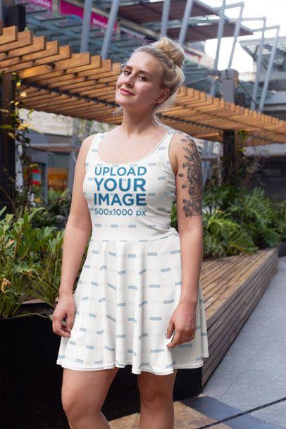 Dress Mockup of a Woman at a Mall 28007