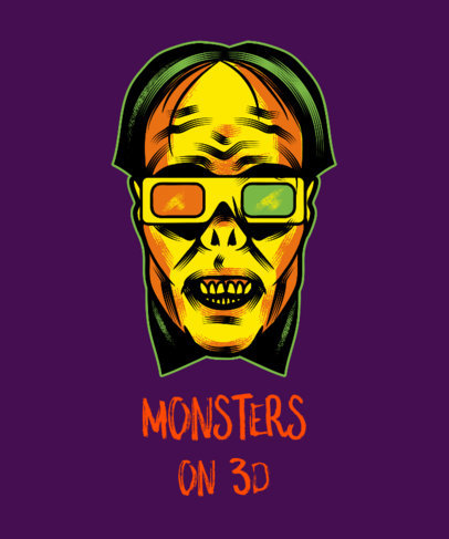 Halloween T-Shirt Design Generator with a Monster Wearing 3D Glasses 1567d