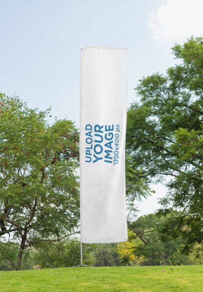 Mockup of a Flag Banner in an Open Field 28022