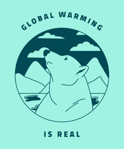 T-Shirt Design Template with a Polar Bear Illustration 1562b