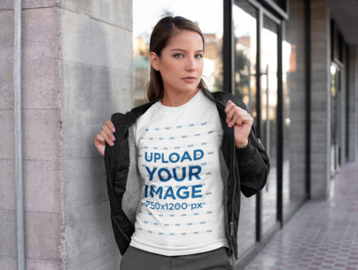 Mockup of a Woman Showing Off The T-Shirt Under Her Bomber Jacket 28213