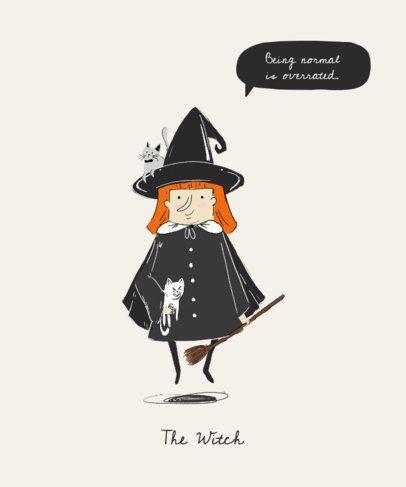 Halloween T-Shirt Design Maker Featuring a Spooky Witch Cartoon 1565c