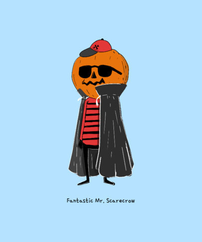 T-Shirt Design Maker with a Cool Halloween Pumpkin Character 1565d