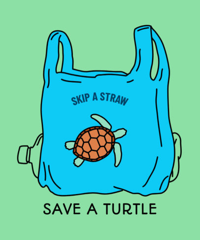 Anti-Straw T-Shirt Design Template Featuring a Sea Turtle 1559e