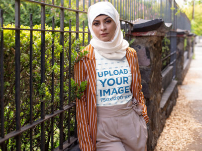 T-Shirt Mockups of a Woman Wearing a Hijab 28292