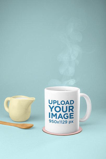Mockup of an 11 oz Mug with Hot Tea 28180