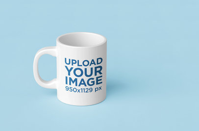 Mockup of an 11 oz Coffee Mug in a Minimalistic Customizable Background 199-el