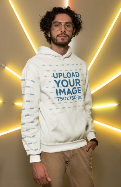 Pullover Hoodie Mockup with a Customizable Sleeve Featuring a Trendy Man 28300