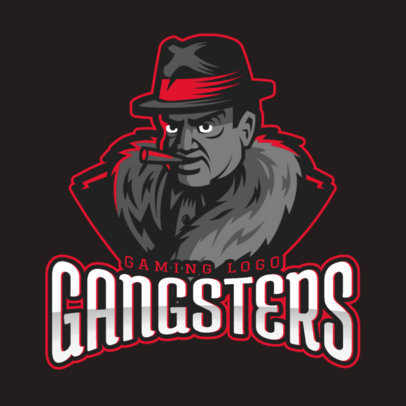 Gaming Logo Template Featuring a Mafia Gangster Character 1750j