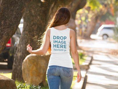 Back of a Girl Wearing a Tank Top Mockup Walking on the Street 9044b