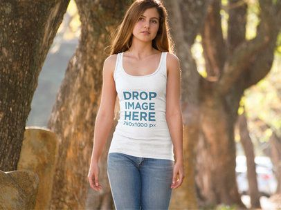 Girl On the Street Tank Top Mockup 9044f