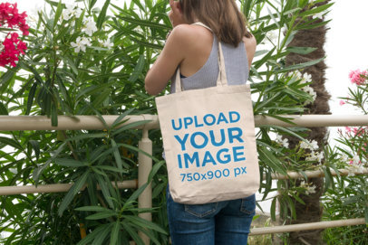 Tote Bag Mockup of a Woman Enjoying Nature 106-el