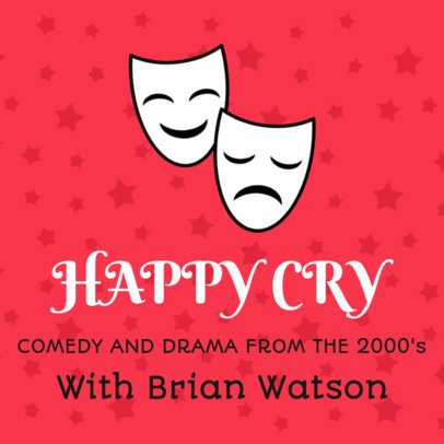 Podcast Cover Template Featuring Theatre Masks Clipart 1494d