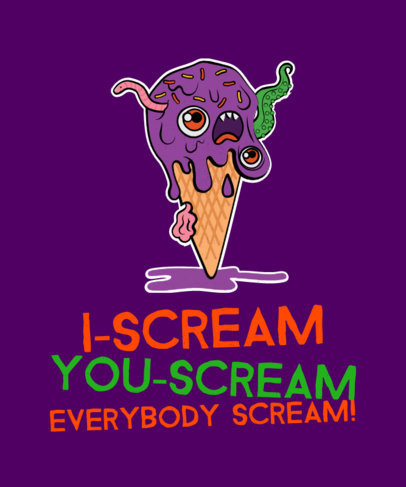 Halloween T-Shirt Mockup Featuring a Monstrous Ice-Cream Graphic 1563e