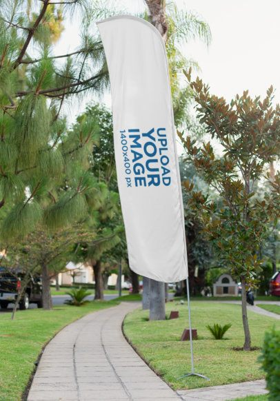 Mockup of a Flag Banner Standing on a Park 28018