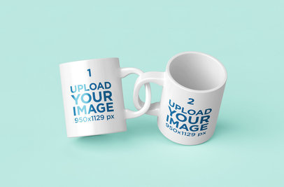 Mockup Featuring Two 11 oz Coffee Mugs With Intertwined Handles 201-el