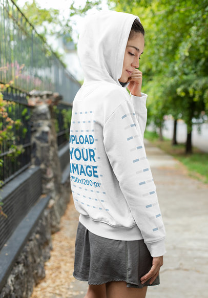 Hoodie Mockup of a Woman Looking to the Floor 28310