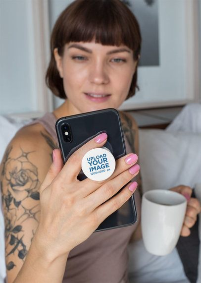 Phone Grip Mockup of a Tattooed Woman with a Cup of Coffee 28151