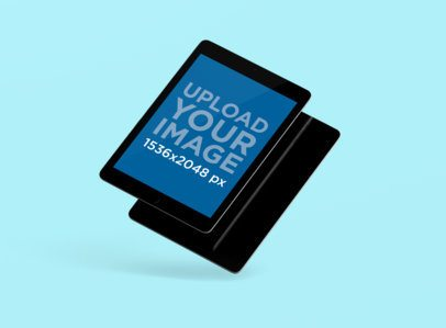 Render Mockup Featuring Two Overlapping iPads Against a Plain Backdrop 156-el