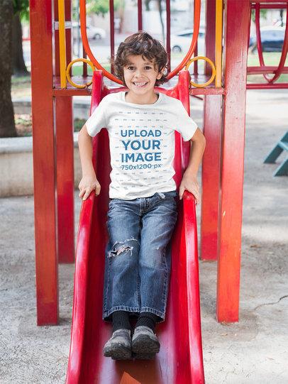 T-Shirt Mockup of a Kid Playing at a Playground 28112