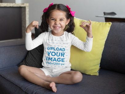 Long Sleeve T-Shirt Mockup of a Little Girl Making a Funny Face 28093