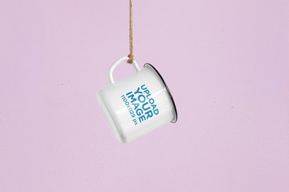 Mockup Featuring a 12 oz Enamel Mug Hanging From a Rope 180-el