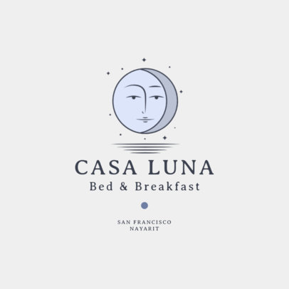 Hotel Boutique Logo Template Featuring a Moon Clipart 2330