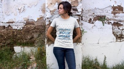 Shirt Video of a Woman Leaning Against an Old Wall 12147