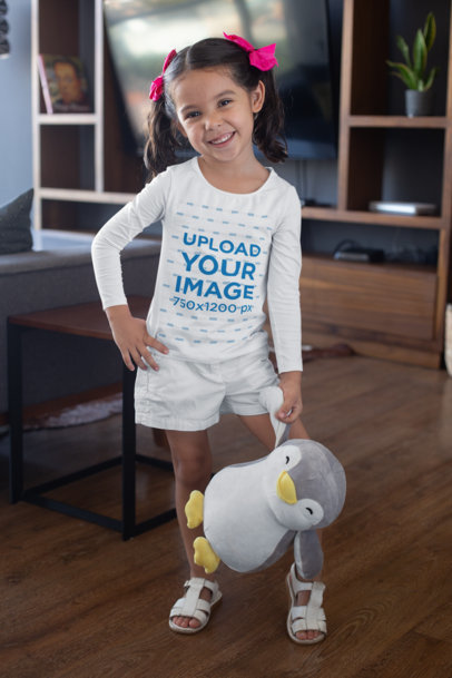 Long Sleeve T-Shirt Mockup of a Little Girl with a Toy 28097