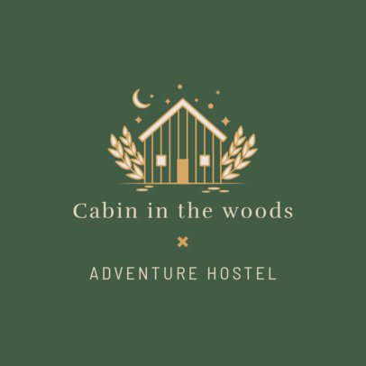 Hostel Logo Maker Featuring a Cabin in the Woods 2330d