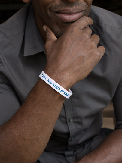 Silicone Wristband Mockup of a Man Posing 28227