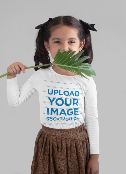 Long Sleeve T-Shirt Mockup of a Girl Covering Her Face with a Plant 28102