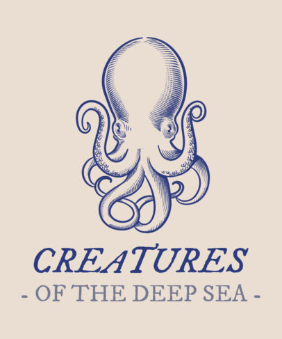 T-Shirt Design Maker Featuring an Octopus Clipart 1598a