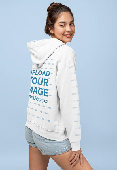 Pullover Hoodie Mockup of a Woman Looking over Her Shoulder 28321