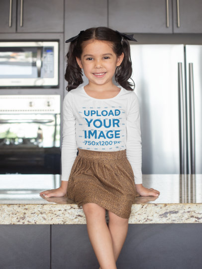 Long Sleeve T-Shirt Mockup of a Girl Sitting on a Tabletop 28104
