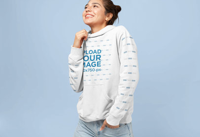 Hoodie Pullover Mockup of a Smiling Woman with a Messy Bun 28317
