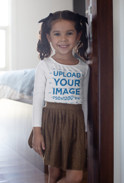Long Sleeve T-Shirt Mockup of a Girl Leaning Against a Door 28105