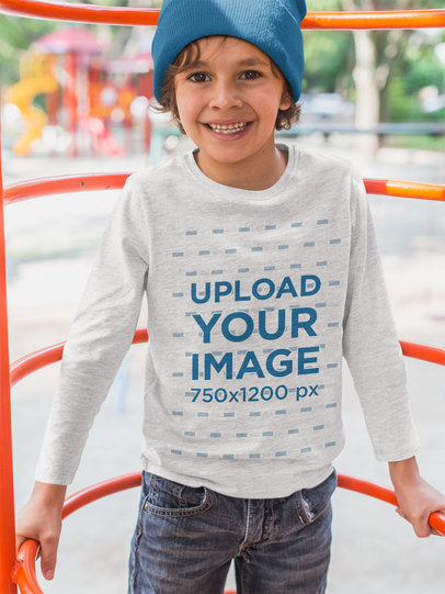 Long Sleeve Tee Mockup Featuring a Happy Kid Playing Outside 28122