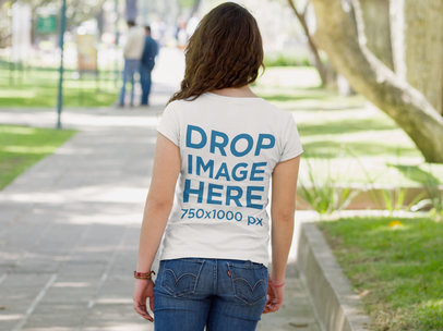 Back of a Young Woman T-Shirt Mockup Strolling in a Park a9178b