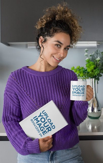Mockup of a Woman Drinking From a Coffee Mug with a Book on Her Hand  28472