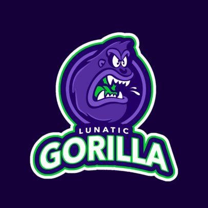 Team Logo Generator with a Wild Cartoonish Gorilla 1616f-2331