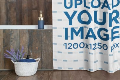 Shower Curtain Mockup Featuring a Bathroom Basket 28543