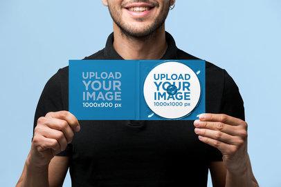 Digipak Mockup Featuring a Man Smiling at a Studio 28335