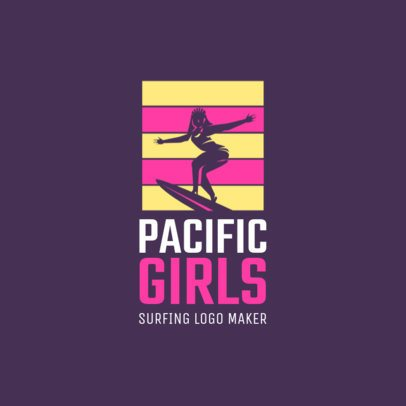 Sports Logo Template for a Female Surfing Club 2376g 2365