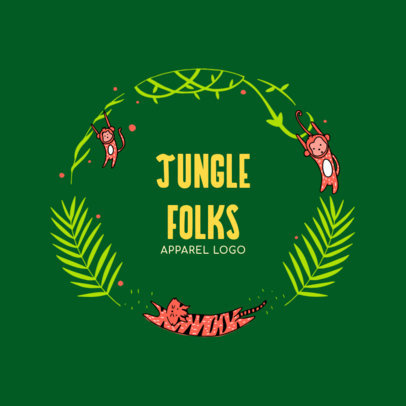 Apparel Logo Design Maker Featuring Jungle Animals 2352c